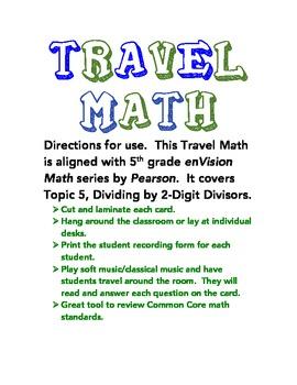 5.NBT.6 - TRAVEL MATH - Dividing 2-Digit Divisors