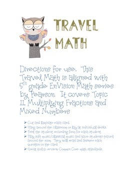 TRAVEL MATH - Multiplying Fractions and Mixed Numbers