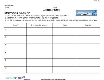 TRAVEL PLANNING WEBQUEST (ITALIAN)