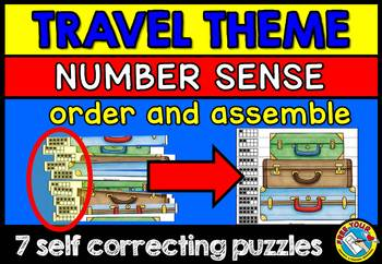 TRAVEL THEME KINDERGARTEN NUMBER SENSE PUZZLES (MINI CENTER) NUMBERS 1-10