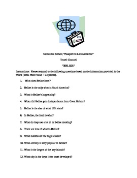 TRAVEL VIDEO WORKSHEET - BELIZE