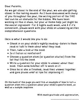 TRC Practice Homework Letter