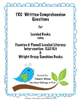 TRC Written Comprehension Questions for Fountas & Pinnell, Wright Group, & more