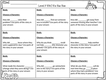 TRC (Written Constructed Response) Tic Tac Toe Boards: Guided Reading Levels F-U