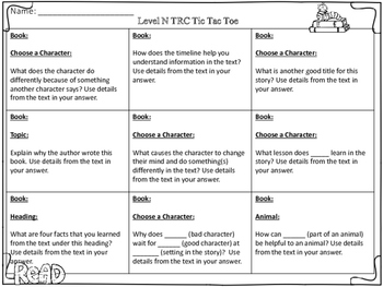 TRC (Written Constructed Response) Tic Tac Toe Boards: Guided Reading Levels N-U