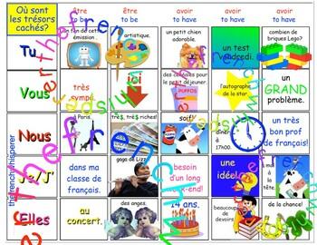 Où sont les trésors cachés? (ÊTRE & AVOIR verb practice) FRENCH