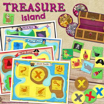TREASURE ISLAND - PIRATES PRINT & PLAY matching and memory game