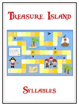 TREASURE ISLAND Syllables - ELA First Grade Folder Game -