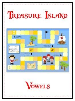 TREASURE ISLAND Vowels- ELA First Grade Folder Game - Word Work Center