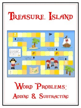 TREASURE ISLAND - Word Problems Adding & Subtracting - Math Folder Game