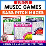 Music Games: Bass Pitch Music Theory Maze Puzzles SAVINGS BUNDLE