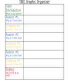 TREE Graphic Organizer for SRSD Opinion Writing