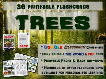 TREES - 36 Printable front/back FLASHCARDS