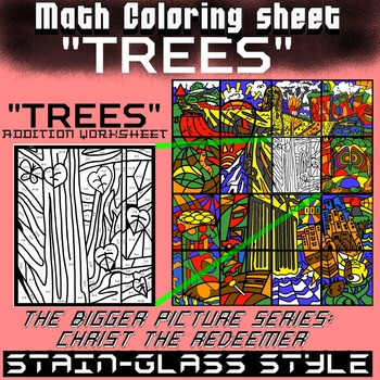 Math Colouring Worksheet (Addition) -Trees