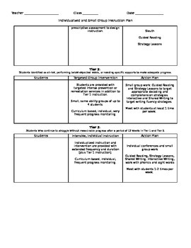 TRI- Three Tier Individualized and Small Group Instructional Plan