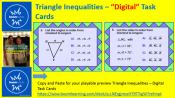 """TRIANGLE INEQUALITIES IN ONE TRIANGLE: """"DIGITAL"""" BOOM CARDS (20 TASK CARDS)"""