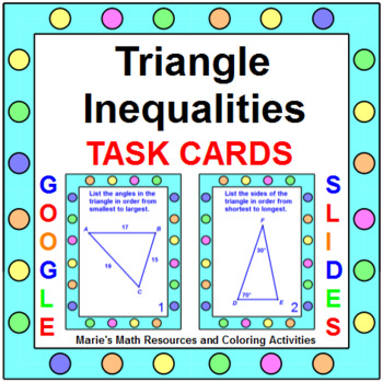 TRIANGLE INEQUALITIES THEOREM - TASK CARDS (20 cards)