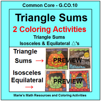 TRIANGLE SUMS:  2 COLORING ACTIVITIES - HALLOWEEN THEMED