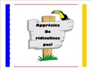 TRIBES POSTER IN FRENCH:  Appreciations!  No Put Downs!