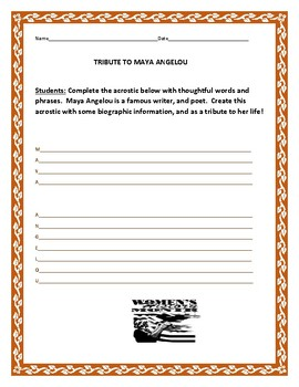 TRIBUTE TO MAYA ANGELOU- AN ACROSTIC ACTIVITY