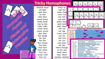 TRICKY HOMONYMS PUZZLE PIECES AND INTERACTIVE PRACTICE