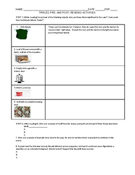 TRIFLES: DURING AND POST- READING ACTIVITIES