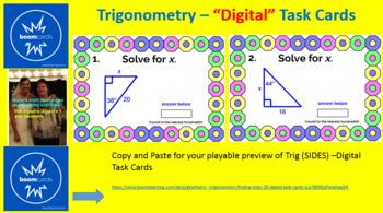 "TRIGONOMETRY: ""DIGITAL"" BOOM CARDS (64 TASK CARDS) 3 SETS, SIDES, ANGLES, RATIOS"