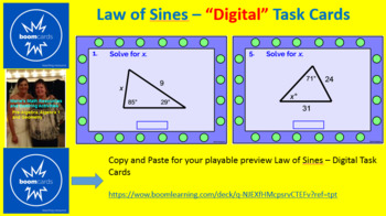 "TRIGONOMETRY - LAW OF SINES: ""DIGITAL"" BOOM CARDS (15 TASK CARDS)"