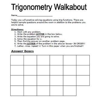 TRIGONOMETRY WALKABOUT ACTIVITY