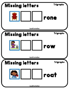 PHONICS TILES: TRIGRAPHS Task Cards with Missing Letters