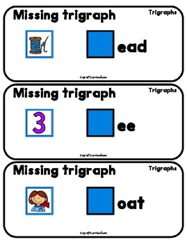 TRIGRAPHS Task Cards with Missing Trigraph