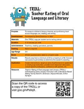 TROLL-Teacher Rating of Oral Language and Literacy