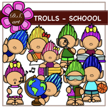 TROLLS - SCHOOL Digital Clipart (color and black&white)