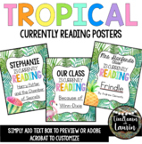 TROPICAL Classroom Decor Currently Reading Posters