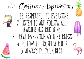 TROPICAL Classroom Expectations Poster
