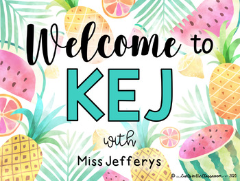 EDITABLE TROPICAL Classroom Welcome Sign