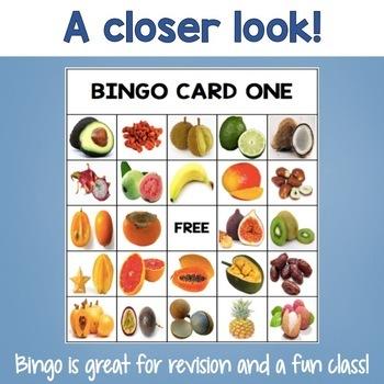 Tropical Fruit Bingo Cards Vocabulary Words for ESL and Special Ed
