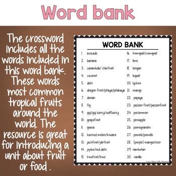 tropical fruit esl ell activity crossword puzzle by nana s esl classroom