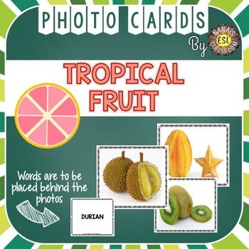 Tropical Fruit Photo Flash Cards Vocabulary Words for ESL