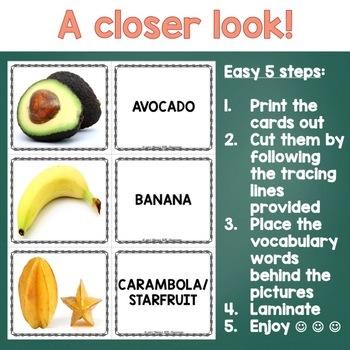 Tropical Fruit Photo Flash Cards for ESL/ELL