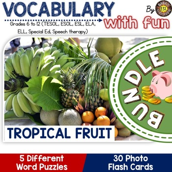 Tropical Fruit BUNDLE 5 Different Word puzzles and 30 Phot