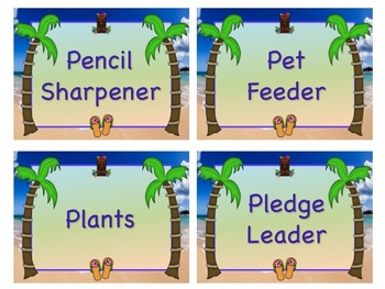 TROPICAL HAWAII Theme Job Chart Cards / Signs - Great for Classroom Management!