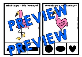 TROPICAL MATH ACTIVITIES (FLAMINGO SHAPES RECOGNITION CLIP CARDS) FLAMINGO MATH