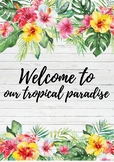 TROPICAL THEME DOOR DECOR | Welcome to our tropical paradise