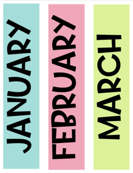 TROPICAL themed Calendar Numbers and Months