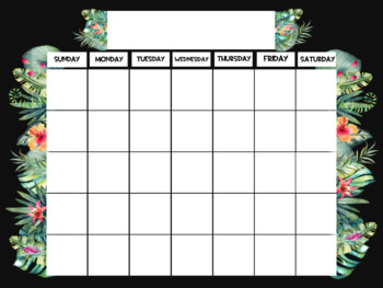 TROPICAL themed Calendar Poster EXTRA LARGE