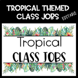 TROPICAL themed class job-editable-tropical birds-monstera leaves