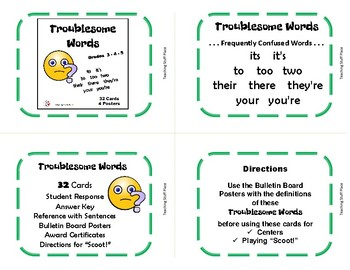 TROUBLESOME WORDS Task Cards ... Gr. 3-4-5