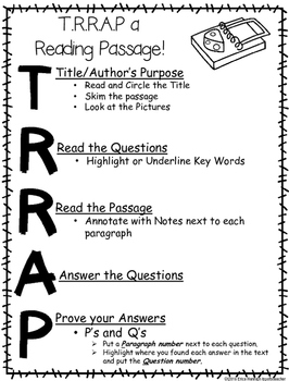 TRRAP a STAAR Reading Passage in 3rd-5th Grades