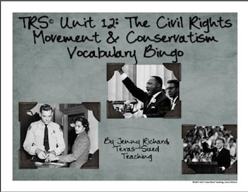 TRS®/CSCOPE® Texas History Unit 12: Civil Rights & Conservatism Vocabulary Bingo